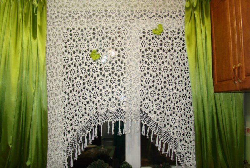 вязаные шторы крючком схемы вязания занавесок крючком для кухни 8