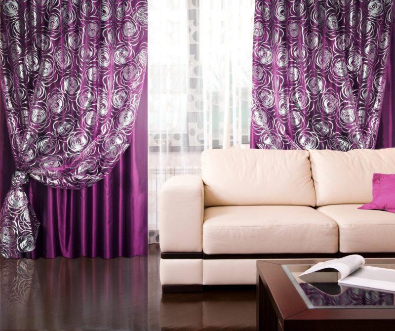 шторы сливового цвета